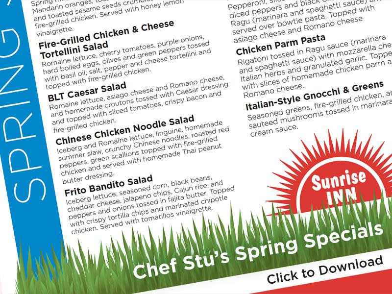 Chef Stu's Spring Specials